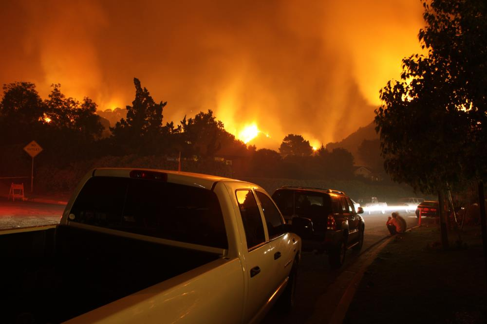 Wildfire in a neighborhood